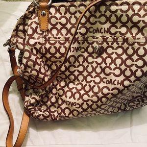 Oversized tan leather coach bag